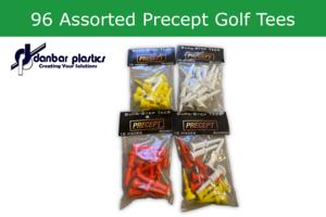Plastic Golf Tees - 96 Assorted Precept Golf Tees
